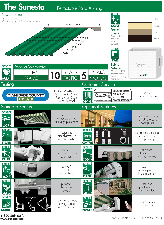 The Sunesta Product Info Sheet